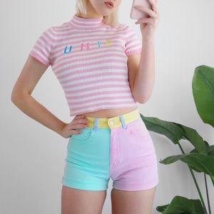 American apparel pastel color block shorts
